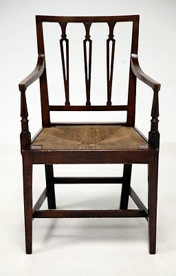 Georgian Mahogany Elbow Chair With Rush Seat FREE Nationwide Delivery