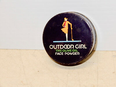 Antique Art Deco Outdoor Girl Face Powder Box Nos