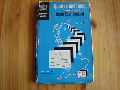 Ordnance survey 1/4 inch map North East England Published 1964 includes 1965 rev