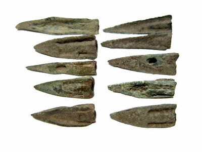 Rare Lot Of 10 Greek Bronze Arrow Heads, Broad Variety+++