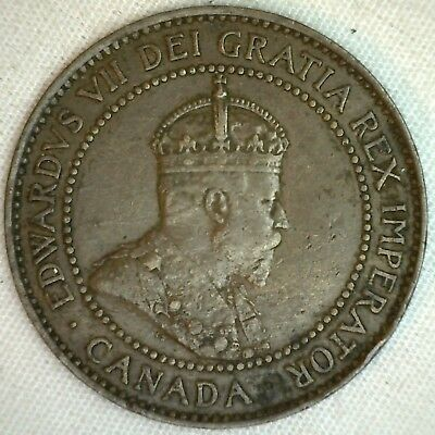 1908 Copper Canadian Large Cent Coin 1-Cent Canada VF K3