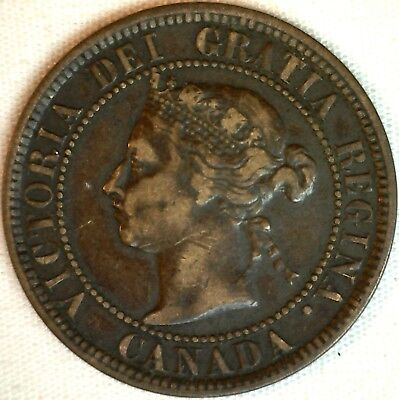 1884 Copper Canadian Large Cent One Cent Coin Very Fine #25