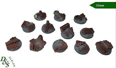 32mm Round Resin Scenic Infantry Bases Urban/Rubble #3 Space Marine 40K