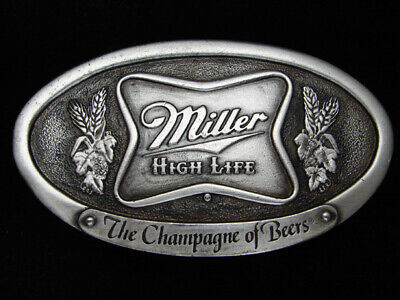 Qa05142 *Nos* Vintage 1975 *Miller High Life The Champagne Of Beers* Belt Buckle