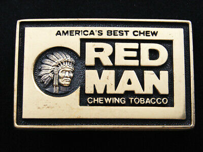 RF11131 VINTAGE 1970s *RED MAN CHEWING TOBACCO* SOLID BRASS ADVERTISEMENT BUCKLE