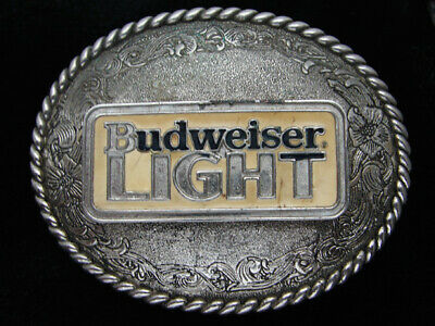 Qf07127 Vintage 1982 **Budweiser Light** Anheuser-Busch Beer Belt Buckle