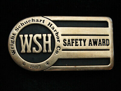 Pd15145 *Nos* Vintage 1988 **Wright Schuchart Harbor Co.** Solid Brass Buckle