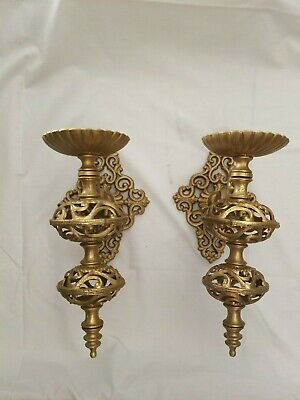 2 Vintage Ornate Metal Wall Candle Holders Sconce Pair Scroll