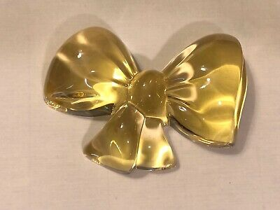 Vintage Baccarat Crystal Figurine Yellow Bow Paperweight Easter Spring Bow