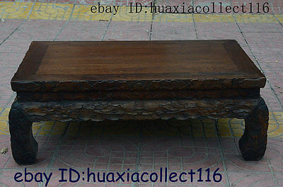 China Dynasty HuangHuaLi Wood Hand-carved Flower Tea Table Writing Desk Statue