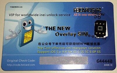 TWO (2)X HEICARD Unlock Sim for Iphone 4S,5, 5C,5S, 6, 6+ Support up