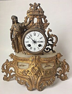 Antique French Mantel Clock Deprez w Girl Marble Inserts Spelter Gilt Wind Up