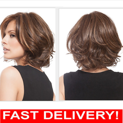 Full Short Women Ladies Fashion Hair Wig Curly Brown Mixed Shoulder Length Wigs