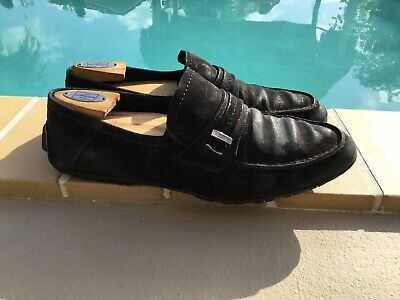 92843de6566 GUCCI BLACK SUEDE LOGO PLATE DETAIL RUBBER SOLE LOAFERS Sz 9.5D MADE IN  ITALY