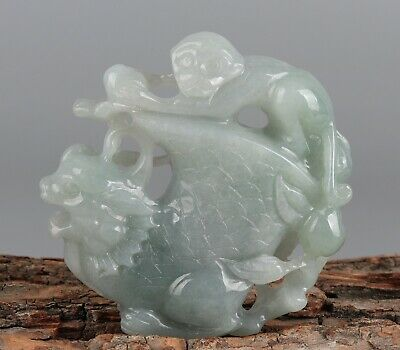 Chinese Exquisite Hand carved monkey Carving jadeite jade Pendant