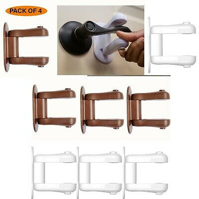 Upgraded Baby Proofing Door Lever Locks | Pack of 4 | New Design - Brown & White