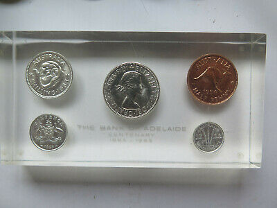 1865-1965 BANK of ADELAIDE CENTENARY PRESENTATION PAPERWEIGHT AUSTRALIAN COINS