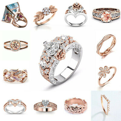18K Rose Gold Plated Jewelry White Topaz Flower Infinity Heart Leaf Wedding Ring