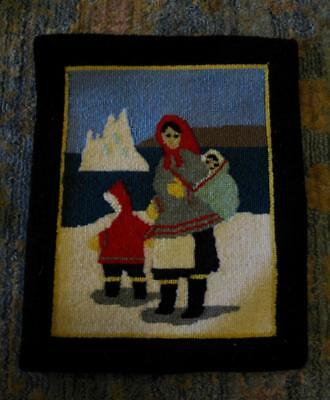 Grenfell Rug Inuit First Nation Native American Children Mother Antique Arctic