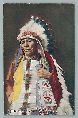 High Pipe Sioux Chief—Antique Indian Troilene Postcard 1910s