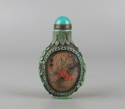 Chinese Exquisite Handmade pomegranate insect pattern Glass snuff bottle
