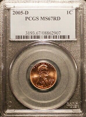2005-D Lincoln Cent   PCGS MS67 Red ( Business strike ! ) Free Shipping !! #2907