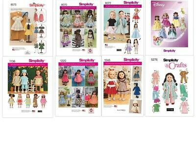 "Simplicity Sewing Patterns Doll Clothes for 18"" - 45.5 cm Dolls U-Pick"