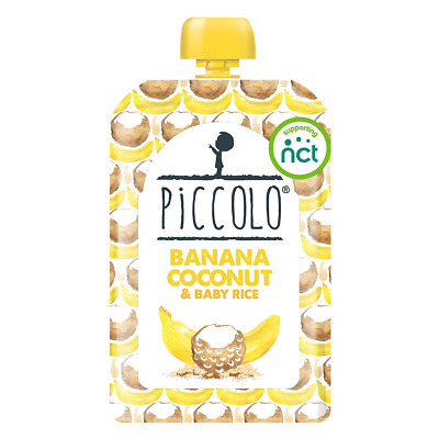 Piccolo Organic -  Banana, Coconut and Baby Brown Rice - Stage 1 Baby Food, 100