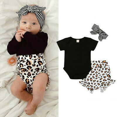 Newborn Baby Girls Leopard Tops Romper Short Pants Summer With Headband Outfits