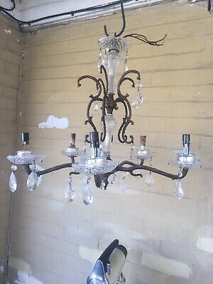 Antique Ornate Brass Chandelier Ceiling Light Spanish Style Made in Spain