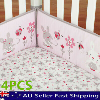 4Pcs/Set Rabbit Baby Infant Cot Crib Bumper Safety Protector Toddler Nursery AU