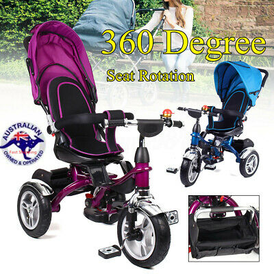 4-In-1 Kids Baby Toddler Stroller Tricycle Learning Bike Ride on Trike Pram