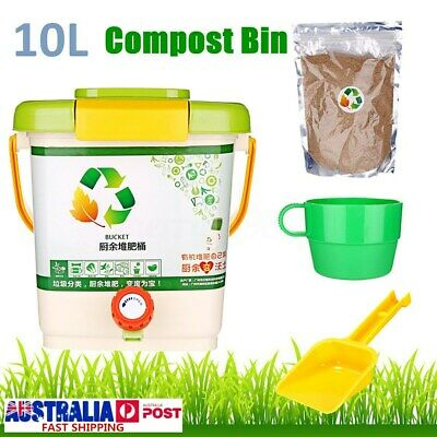 10L Recycle Composter Aerated Compost Bin Bokashi Bucket Kitchen Food Waste AU