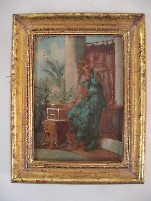 Small Pre-Raphaelite Painting - Roman Goddess with Bird & Gilded Cage Gold Gilt