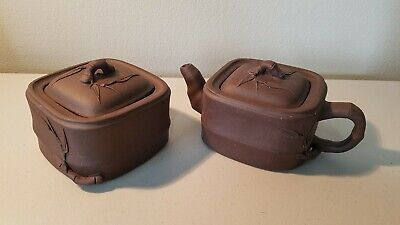 Chinese Yixing Zisha Clay Teapot & Container