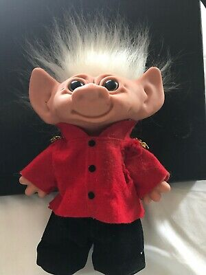 Troll Doll Vintage Original Removable Shoes Pants Jacket.  Silky Snow White Hair