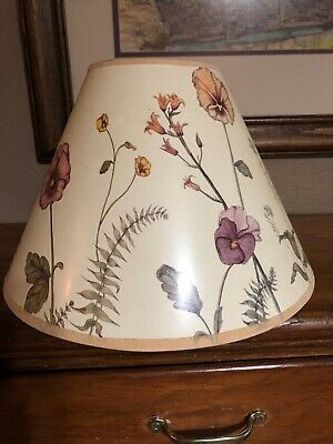 Vintage Beautiful Colorful Flowered Inside and Outside  Plastic Lamp Shade