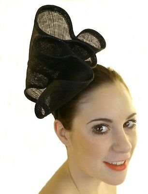 Black Ruffles Fascinator Waves Hat Races Wedding Melbourne Cup Derby Day