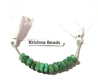 """24Cts/14Pcs Natural Emerald Rondelle 7-8mm Faceted Gemstone Beads 2""""Inch,Green"""