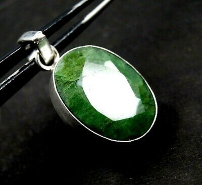 GGL Certified 46.10 Ct Green Emerald Gemstone Pendant 925 Solid Sterling Silver
