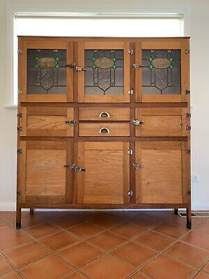 Antique 1940s Deco Timber Lead light Kitchen Cabinet Cupboard