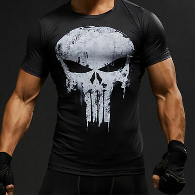 Men's Summer Workout T Shirt Gym Compression the Punisher Printed Halloween Top