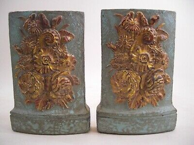 Fantasy Floral Gold Gilt Pair Bookends French Deco Art Nouveau Victorian Style