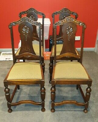 Vintage Oak 4 x Matching Chairs Jacobean Style urns