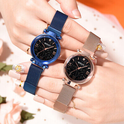 Womens Starry Sky Magnetic Round Dial No Numbers Quartz Band Wrist Watch Ornate