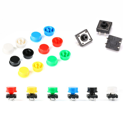 Push Button Tact Switch Momentary 12x12x7.3mm + 5 Colors Round Cap for DIY Kit