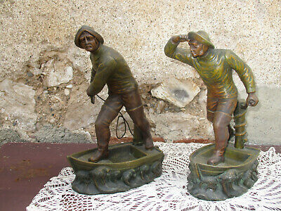 Pair Large French Spelter Figures.  Sailors in Boats.  Henri Fugere 1920s.