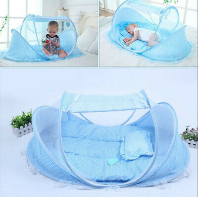 Baby Travel Bed, Portable Folding Crib Mosquito Net Cots Newborn Foldable Crib