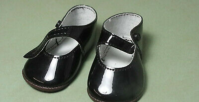 Puppenschuhe aus Kunstleder schw. 7,1 cm / pair of doll shoes pat. leath.