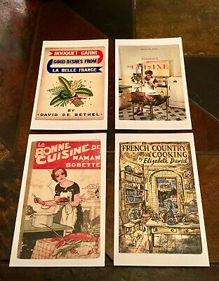 Set of Four French Themed Penguin Cookbook Covers Postcards. New & Unused.